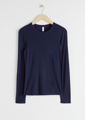 And other stories Micro Ribbed Long Sleeve T-Shirt