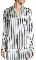 Asceno Striped Silk Pajama Top