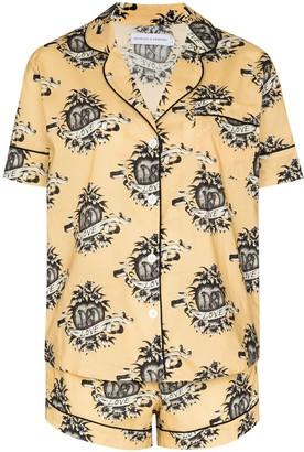 Desmond & Dempsey Heart Logo-Print Pajama Set
