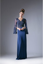 Unique Vintage Navy Blue Lace Sleeve Special Occasion Dress