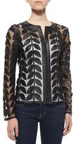 Neiman Marcus Leather Leaf Mesh Jacket, Black