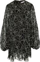 Carolina Herrera Floral-Embroidered Silk Mini Dress