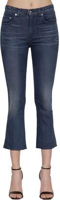 Rag & Bone Hana Mid Rise Flared Cotton Denim Jeans
