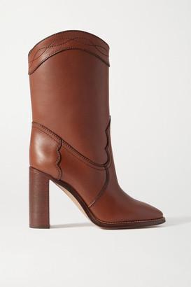 Saint Laurent Kate Leather Ankle Boots - Tan