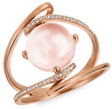 LeVian Rose Quartz and Vanilla Diamond 14K Strawberry Gold Ring