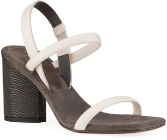 Brunello Cucinelli Monili-Heel Slingback Sandals
