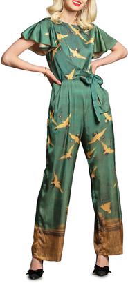 Eva Franco Miranda Cranes Flutter-Sleeve Jumpsuit