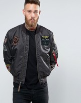 Alpha Industries MA-1 Bomber Jacket With Patches In Black Slim Fit