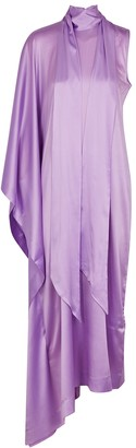 Taller Marmo Lilac One-shoulder Draped Silk Gown