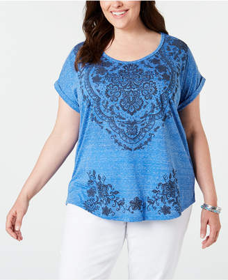 Style&Co. Style & Co Plus Size Graphic Cuffed T-Shirt