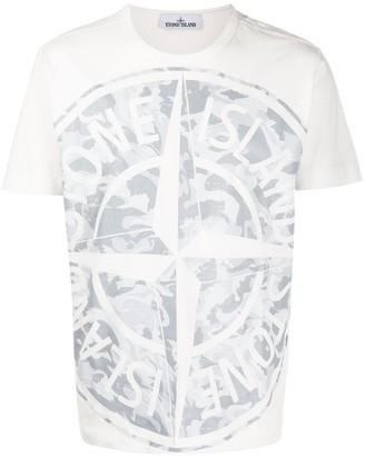 Stone Island camouflage logo print T-shirt