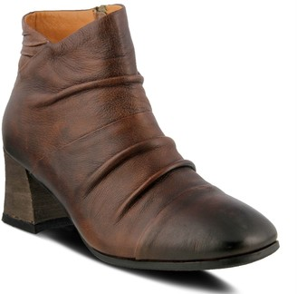 Spring Step L'Artiste Cap Toe Pleated Vamp Leather Booties- Melani