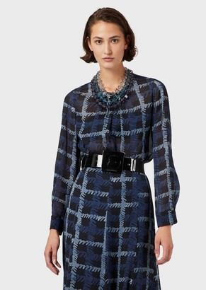 Emporio Armani Silk Georgette Blouse With Abstract Plaid Print