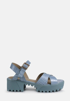 Missguided Blue Cross Front Chunky Split Sole Sandals
