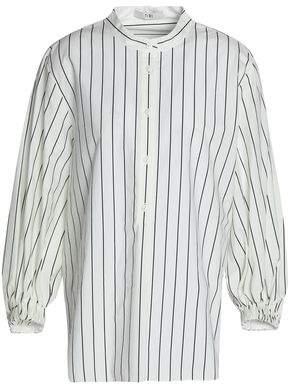 Tibi Striped Cotton-Poplin Top