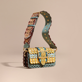 Burberry The Small Buckle Bag in Laser-cut Leather and Snakeskin, Blue