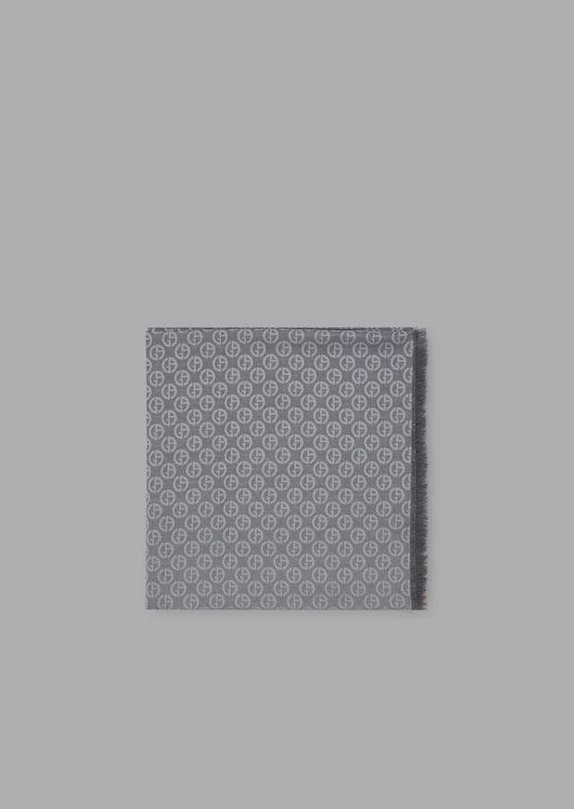 Giorgio Armani Square Scarf In Silk And Cotton With Logo Pattern