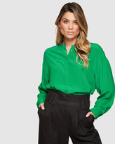 Oxford Ruby Collarless Blouse