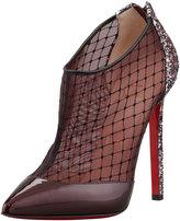 Christian Louboutin Fillette Patent/Mesh Glitter-Heel Bootie