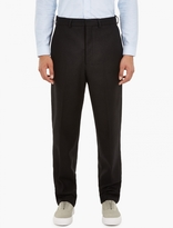 Ami Black Oversized Wool-Blend Trousers