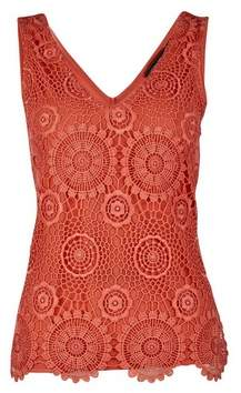 Dorothy Perkins Womens Coral Guipure Lace Vest, Coral