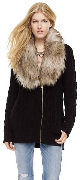 Juicy Couture Faux Fur Cable-Knit Cardigan