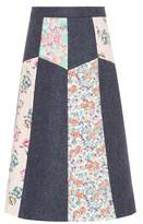 RED Valentino Floral-printed wool skirt