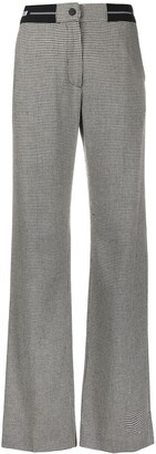 MSGM Houndstooth Wide-Leg Trousers