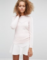Warehouse Pointelle Puff Sleeve Sweater