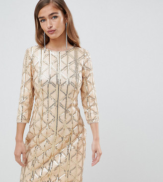 TFNC Petite Petite geometric sequin bodycon dress with open back in gold