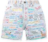 Faith Connexion hand-painted graffiti denim shorts - women - Cotton - 26