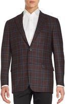 Hickey Freeman Wool Blend Checkered Coat