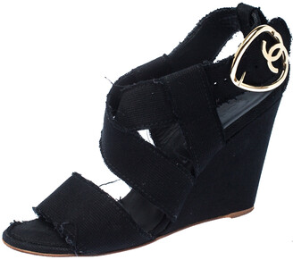 Chanel Black Canvas Wedge Open Toe Ankle Strap Sandals Size 40.5