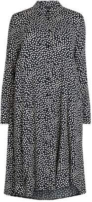 Marina Rinaldi Polka-Dot Crepe Midi Dress