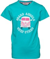Board Angels Girls Front/Black Printed Camper Van T-Shirt Turquoise