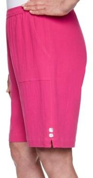 Alfred Dunner Petite Laguna Beach Cotton Gauze Button-Trim Shorts