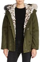 Maje Women's Genuine Fox & Rabbit Fur Trim Jacket