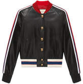 Gucci Embroidered leather bomber