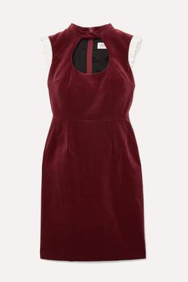 Comme des Garcons Ruffle-trimmed Cutout Cotton-velvet Dress - Burgundy
