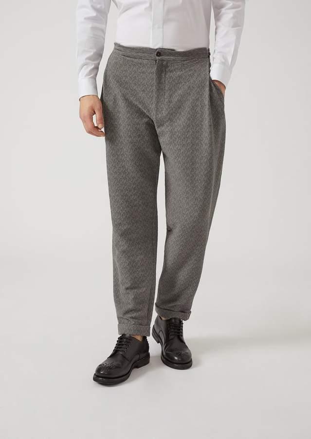 Emporio Armani Trousers In Chevron Pattern Stretch Virgin Wool