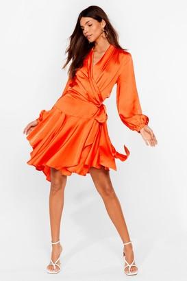 Nasty Gal Womens Satin Wrap Mini Dress with Ruffle Detailing - Orange
