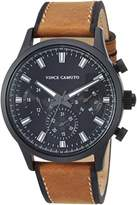 Vince Camuto Men's Quartz Stainless Steel and Leather Dress Watch, Color:Brown (Model: VC/1096BKBN)