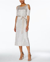 Connected Metallic Crinkled Cold-Shoulder Midi Dress