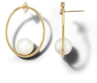 Mizuki Small Oval Pearl and Diamond Yellow Gold Earrings