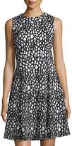 Karl Lagerfeld Laser-Cut Floral-Print Dress, Noir