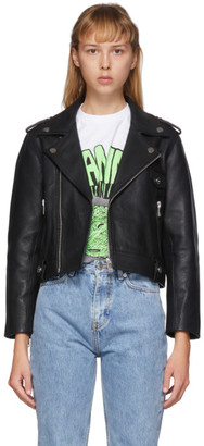 Ganni Black Leather Cropped Biker Jacket