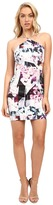 Aidan Mattox Abstract Print Stretch Halter Dress with Side Cut Outs