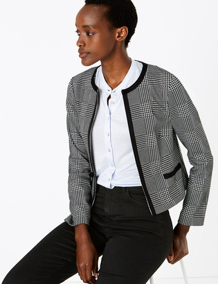 Marks and Spencer Jersey Slim Checked Short Jacket