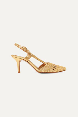 Souliers Martinez - Ebro Woven Metallic Leather Slingback Pumps - Gold