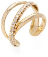 Janis Savitt 18K Yellow Gold & 0.40 Total Ct. Diamond Crossover Cuff Ring